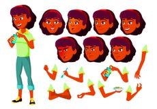 Jugendlich Mädchen-Vektor Inder, Hindu Asiatisch jugendlicher Gesicht Kinder Gesichts-Gefühle, verschiedene Gesten Animations-Sch stock abbildung