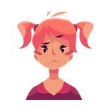 Jugendlich Mädchengesicht, Umkippen, verwirrter Gesichtsausdruck Stockbilder