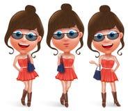 Jugendlich weiblicher Vektorcharakter der Mode, der Handtasche hält vektor abbildung