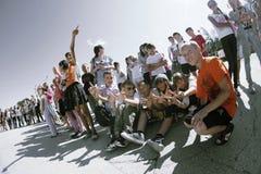 Jugendliche auf Straße Stockfotografie