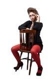 Jugendliche in der schwarzen und roten Kleidung Lizenzfreie Stockfotos