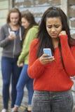 Jugendliche, die durch Textnachricht eingeschüchtert wird Stockbild