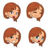 Jugendliche, die vier verschiedene Gesichtsausdrücke eingestellt macht Mädchengesichtsausdrücke, Vektorillustration Lizenzfreie Stockfotografie