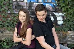 Jugendliche, Mädchen und Junge haben Streit lizenzfreie stockbilder