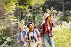 Jugendliche mit den Rucksäcken, die in den Waldsommerferien wandern stockfoto