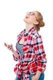 Jugendliche oder junge Frau in den Gläsern mit Handy Stockfotografie