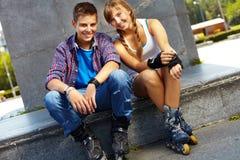 Jugendliche Schlittschuhläufer Stockfoto