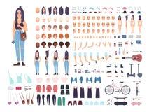 Jugendlicheerbauer oder Animationsausrüstung Satz des weiblichen Jugendlichen oder der jugendlich Körperteile, Gesichtsausdrücke, stock abbildung