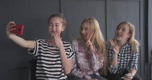 Jugendlichefreunde, die selfie unter Verwendung der Handykamera nehmen stock footage