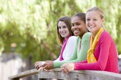 Jugendlichen, die auf hölzernem Geländer sich lehnen stockfotografie