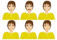Jugendlicher auf sechs verschiedenen Gesichtsausdrücken eingestellt Stockbild