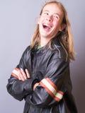 Jugendlicher beim Lederjacke-Lachen Lizenzfreies Stockfoto