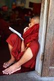 Jugendlicher buddhistischer Mönch, der innen am Kloster studiert Lizenzfreie Stockbilder