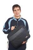Jugendlicher, der einen Laptopbeutel anhält Stockbild