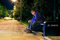 Jugendlicher in der Nacht Lizenzfreie Stockfotos