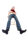 Jugendlicher in der Schutzkappe von Weihnachtsmann Stockbilder