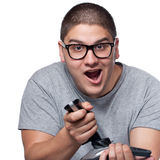 Jugendlicher, der Videospiele spielt Stockfotografie