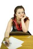 Jugendlicher gebohrtes Studieren stockbilder