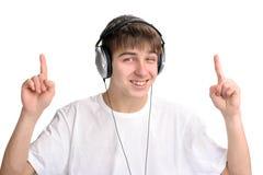 Jugendlicher mit den Fingern oben Stockfoto