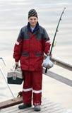 Jugendlicher mit Fischereigerät Lizenzfreie Stockbilder