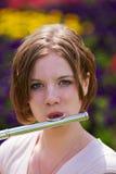 Jugendlicher mit Flöte Lizenzfreies Stockbild