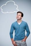 Jugendlicher mit Luftblasen eines Leerzeichengedankens Lizenzfreie Stockbilder