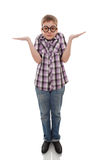 Verwirrter Jugendlichjunge lokalisiert auf Weiß Lizenzfreie Stockbilder