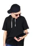 Jugendlicher mit Tablet-Computer Stockbilder
