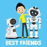 Jugendlicher und lustige Roboter lizenzfreie abbildung