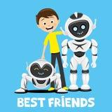 Jugendlicher und lustige Roboter vektor abbildung