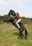 Jugendlicher und Stallion aufrecht Lizenzfreie Stockfotos