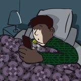 Jugendlicher unter Verwendung Smartphones spät nachts stock abbildung