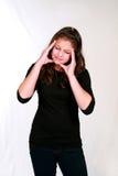 Jugendliches Mädchen mit Kopfschmerzen lizenzfreies stockfoto