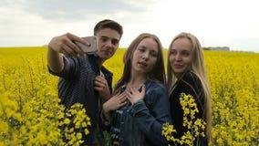 Jugendlichfreunde, die selfies aufwerfen und nehmen stock video