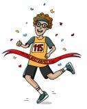 Jugendlichläuferkreuz die Ziellinie Überlagert, einfach zu bearbeiten Marathon Lizenzfreie Stockbilder