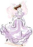 Jugendlichmädchen in altmodischem carnaval Kleid Lizenzfreies Stockfoto