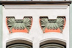Jugendstil architecture in Helsinki. Facade decoration detail of a Jugendstil residential building by architects Lars Sonck and Onni Tarjanne 1900 on Rauhankatu royalty free stock image