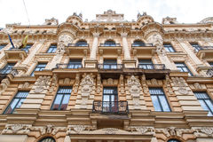 Jugendstil Building in Riga Alberta Street. Close up bottom view of jugendstil style building of art nouveau in Alberta Street in Riga, Latvia royalty free stock photography