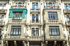 Jugendstil Building in Riga Alberta Street. Close up bottom view of jugendstil style building of art nouveau in Alberta Street in Riga, Latvia stock images