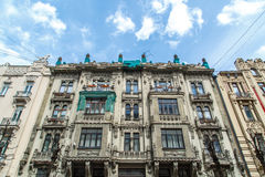 Jugendstil Building in Riga Alberta Street. Close up bottom view of jugendstil style building of art nouveau in Alberta Street in Riga, Latvia royalty free stock images