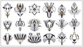 Jugendstil en art deco bloemenornamenten, moderne bloem uitstekende elementen Retro decoratiestijl Symbooltatoegering vector illustratie