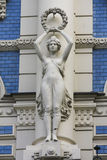 Jugendstil in Riga. Statue on Jugendstil house in Riga stock photos