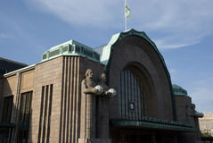 Jugendstilbahnstation in Helsinki, Finnland Stockbilder