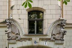 Jugendstilbezirk in Riga, Lettland stockfotografie