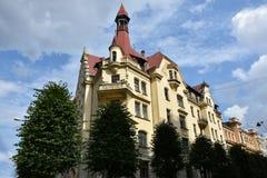 Jugendstilbezirk in Riga, Lettland stockbild