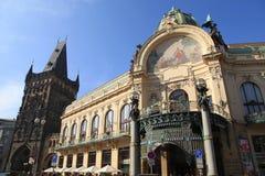 Jugendstilbyggnad, kommunalt hus, Prague, Tjeckien Royaltyfri Fotografi