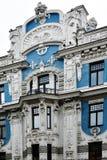 Jugendstildistrict in Riga, Letland stock afbeeldingen