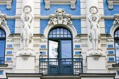 Jugendstilhuis in Riga, Letland Stock Afbeeldingen