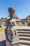 Jugendstilstatue bei berühmtem Sprudelhof in schlechtem Nauheim Lizenzfreies Stockbild
