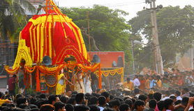 Juggernaut-Car Festival in India. Rath Yatra or in English,Juggernaut-Car Festival being celebrated in Eastern India during onset of Monsoon by Hindus Royalty Free Stock Photo
